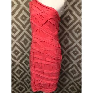 Tadashi Shoji Pink One Shoulder Cocktail Dress